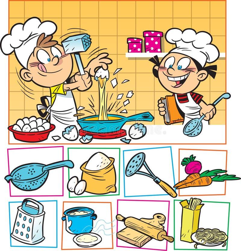 Cocinero de los cabritos stock de ilustración