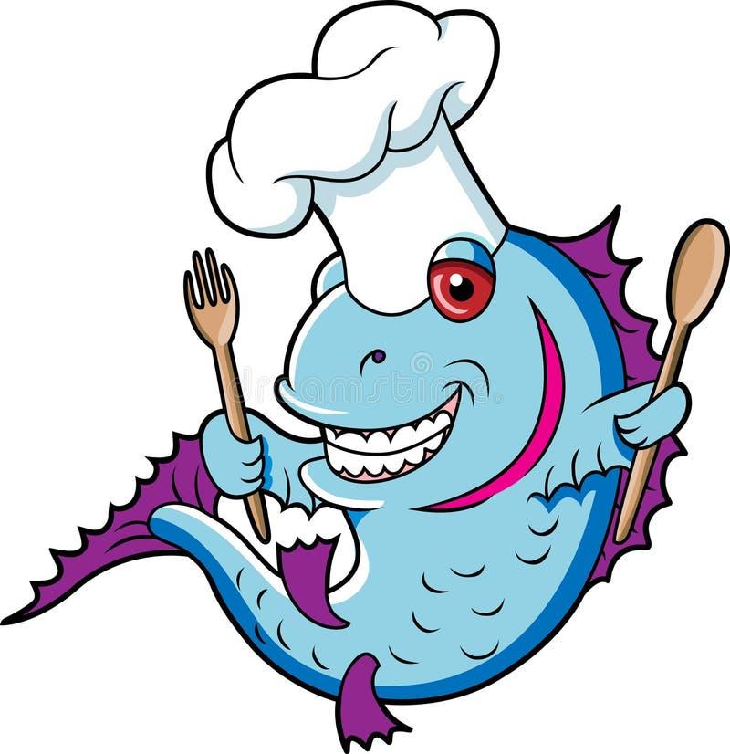 Cocinero de los pescados ilustración del vector