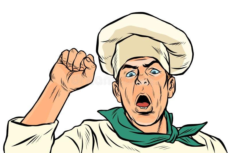 Cocinero de protesta enojado Huelga de la unión, democracia de la libertad de la resistencia de la reunión stock de ilustración