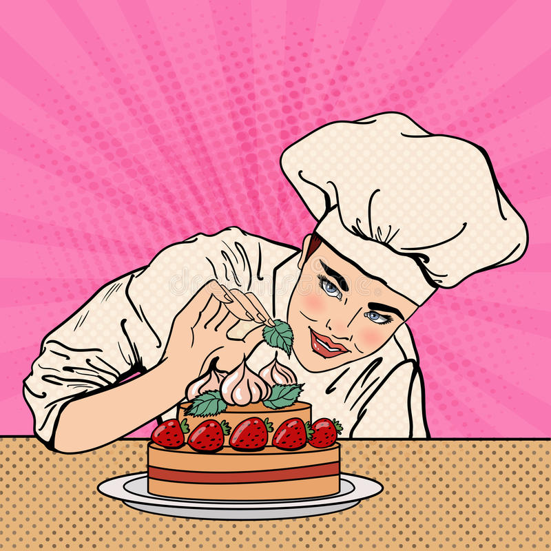 Cocinero de sexo femenino atractivo Decorating Delicious Cake con las fresas Arte pop libre illustration