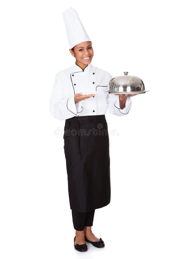 Cocinero de sexo femenino con la bandeja de comida a disposición imagen de archivo