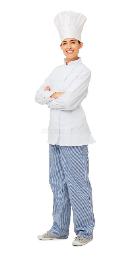Cocinero de sexo femenino confiado Standing Arms Crossed imágenes de archivo libres de regalías