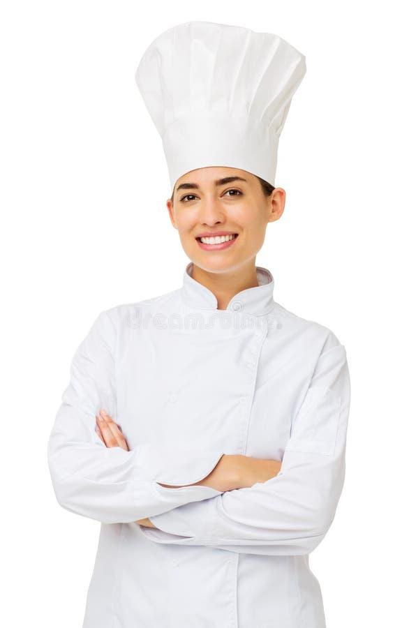 Cocinero de sexo femenino Standing Arms Crossed fotos de archivo libres de regalías