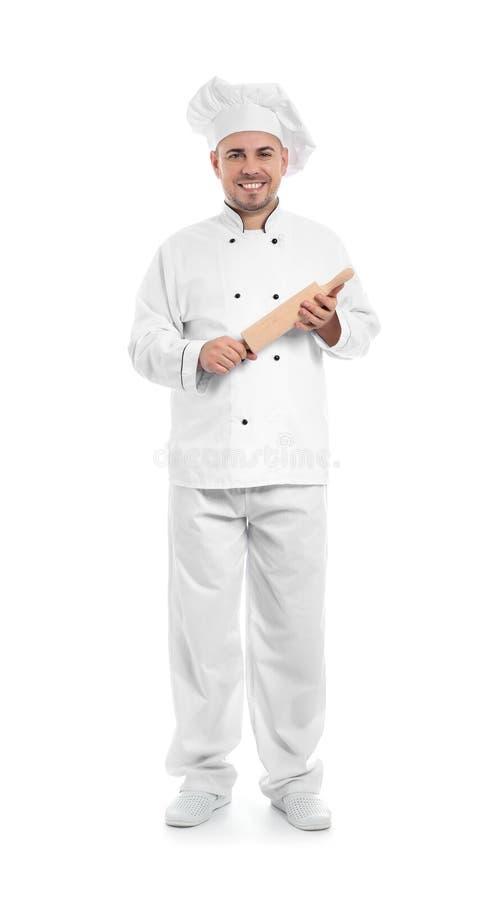 Cocinero de sexo masculino con el rodillo en el fondo blanco imágenes de archivo libres de regalías