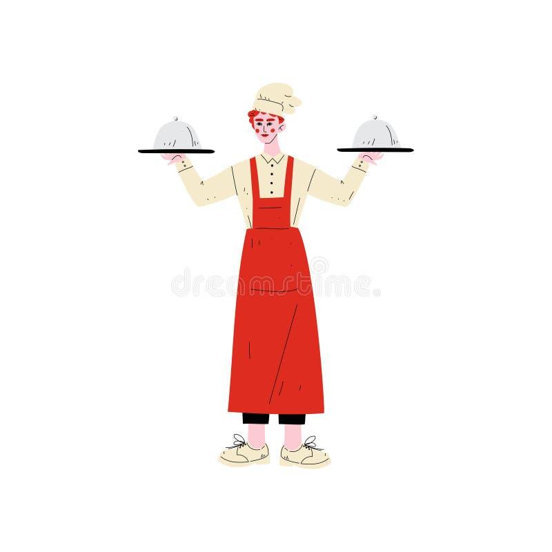 Cocinero de sexo masculino Holding Platter Cloches, carácter del personal del hotel en el ejemplo uniforme del vector ilustración del vector