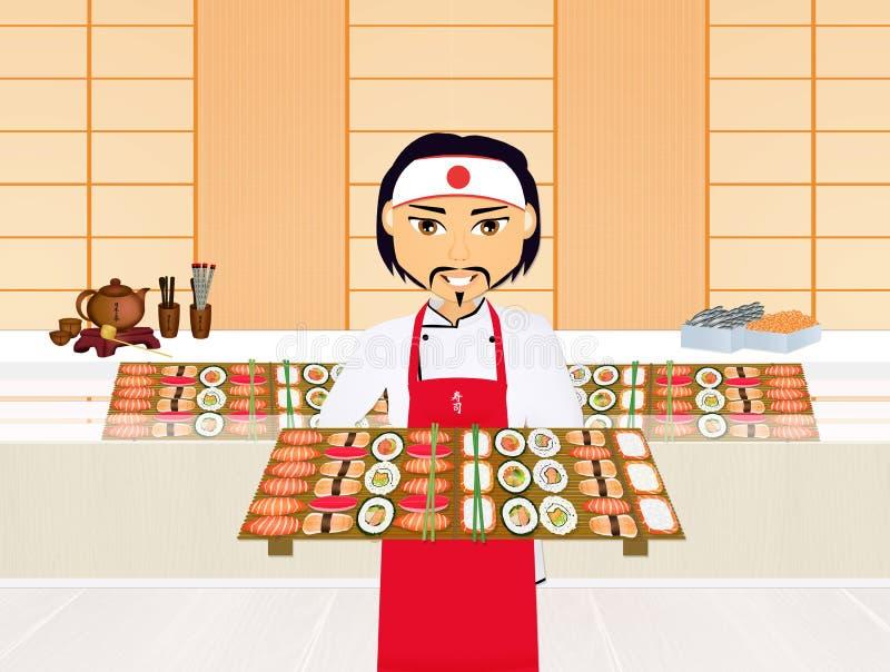 Cocinero de sushi asiático ilustración del vector