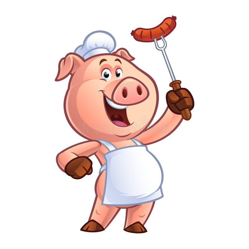 Cocinero del cerdo de la historieta stock de ilustración