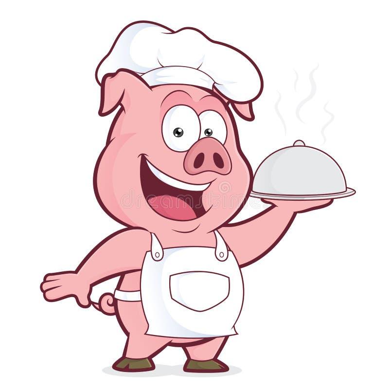 Cocinero del cerdo que sostiene la campana de cristal de plata ilustración del vector