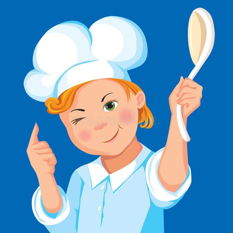 Cocinero del muchacho con una cuchara en un fondo azul stock de ilustración
