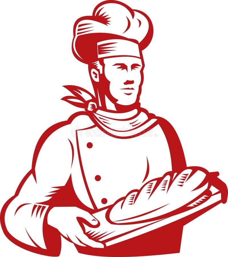 Cocinero del panadero que lleva un pan del pan