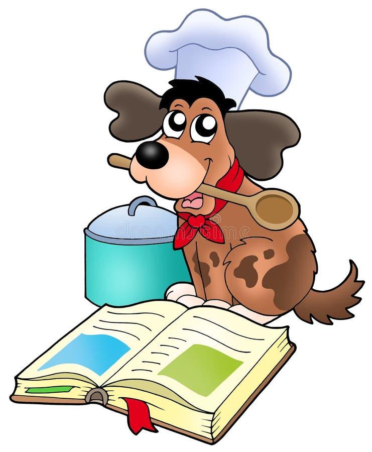 Cocinero del perro de la historieta con el libro de la receta stock de ilustración