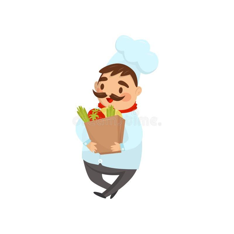 Cocinero del restaurante que camina con la bolsa de papel llena de productos Cocinero con el bigote en uniforme tradicional Icono ilustración del vector