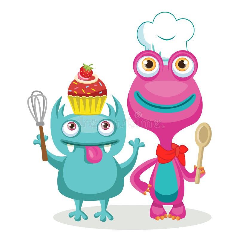 Cocinero divertido Character Vector de los monstruos Cocinero animal Cartoon Theme Elements ilustración del vector