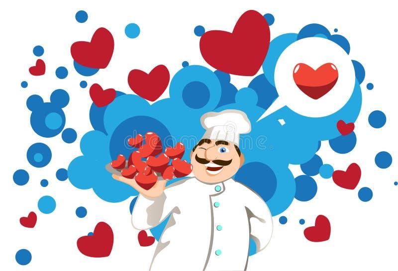 Cocinero en amor ilustración del vector