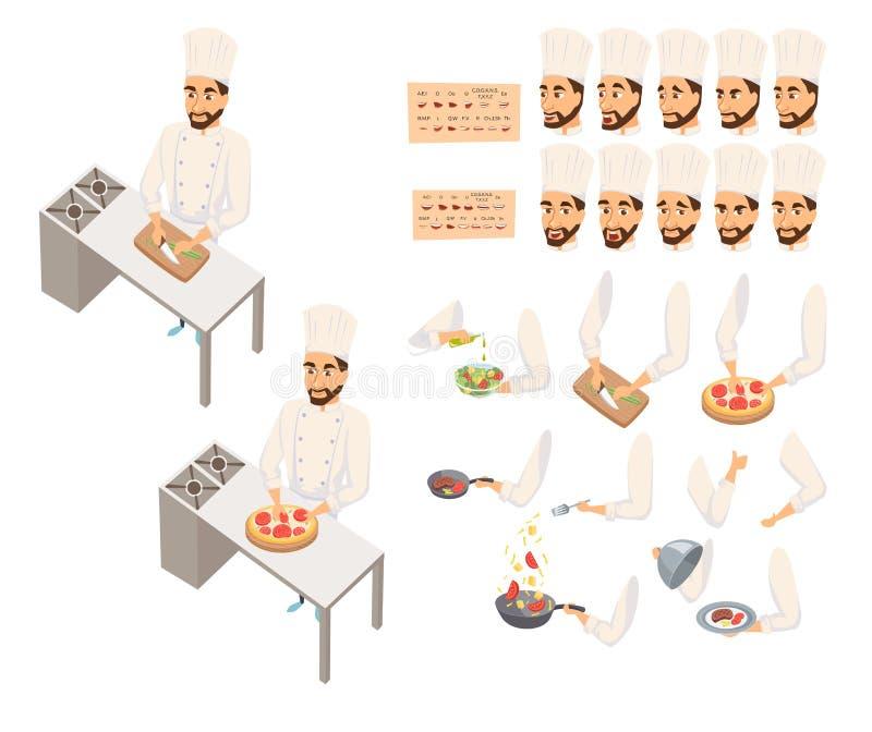 Cocinero en cocinar del restaurante ilustración del vector