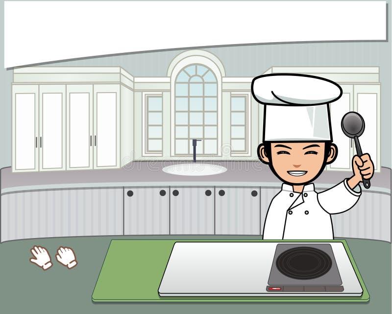 Cocinero en la cocina imagen de archivo
