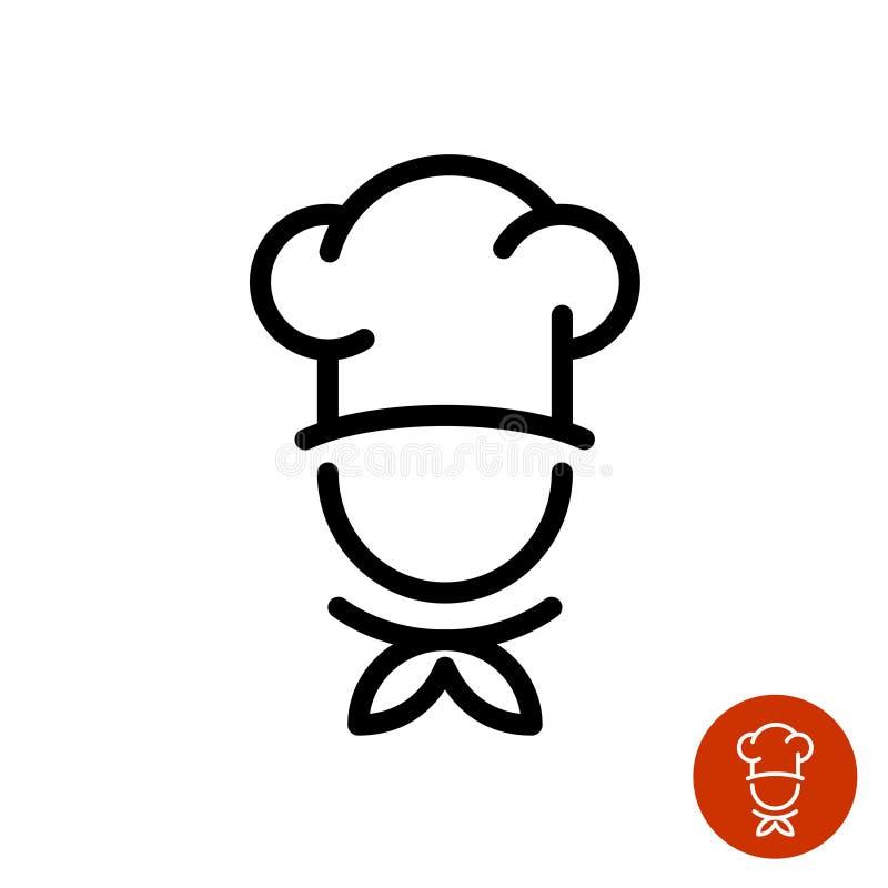 Cocinero en un logotipo de cocinar del esquema del sombrero stock de ilustración