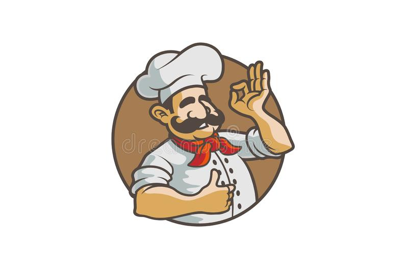 Cocinero feliz Circle Sign Logo libre illustration