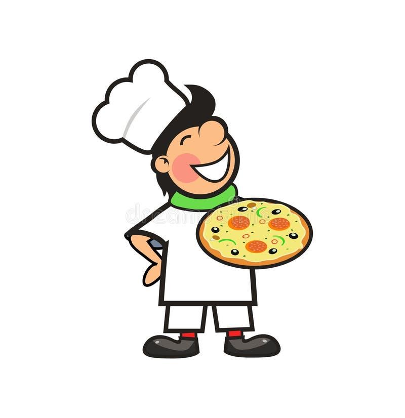 Cocinero feliz con una pizza recientemente cocida libre illustration
