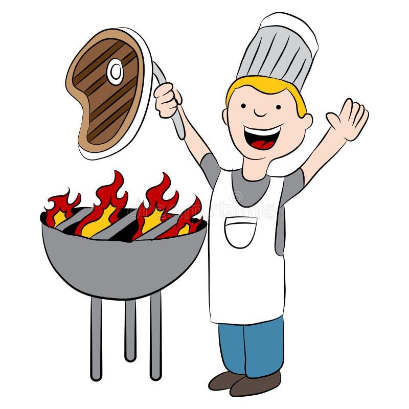 Cocinero Grilling Steak ilustración del vector