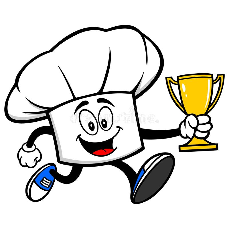 Cocinero Hat Running con un trofeo stock de ilustración