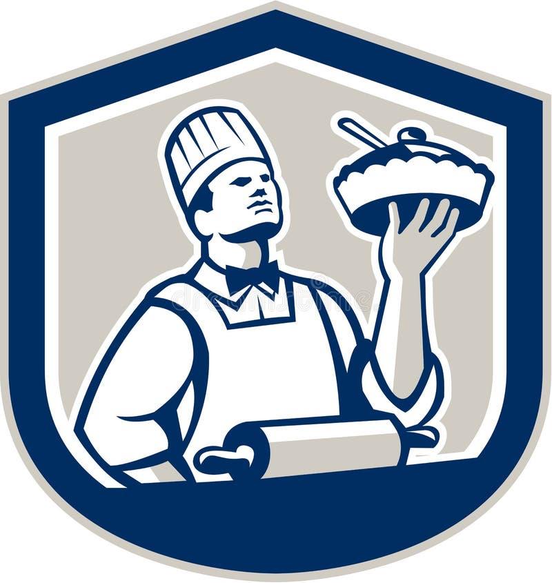 Cocinero Holding Roller Plate del cocinero retro stock de ilustración