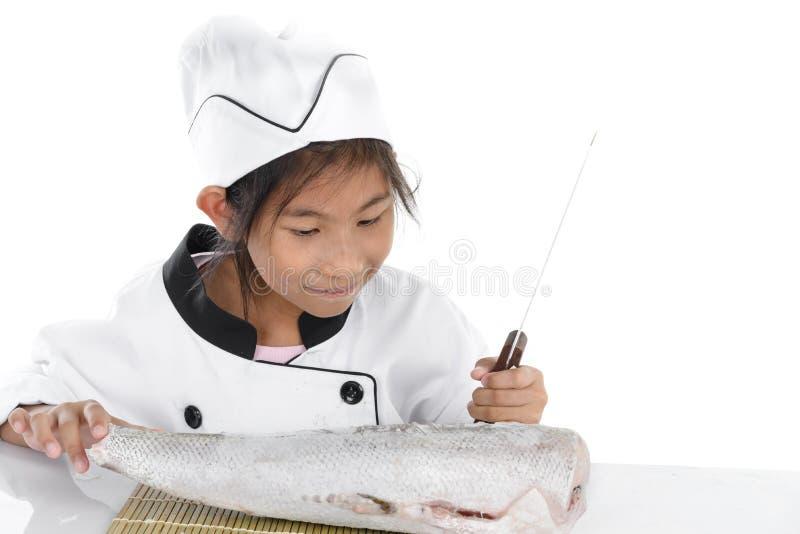 Cocinero japonés uniforme que mira pescados de congelación grandes en el backgro blanco foto de archivo