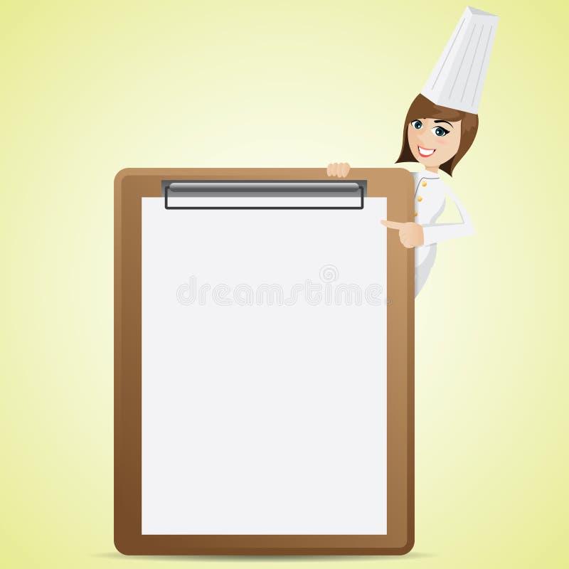Cocinero lindo de la historieta con el tablero en blanco del menú ilustración del vector