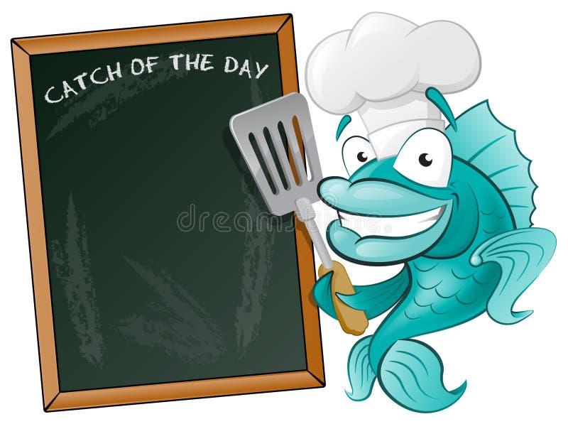Cocinero lindo Fish con el tablero de la espátula y del menú. ilustración del vector