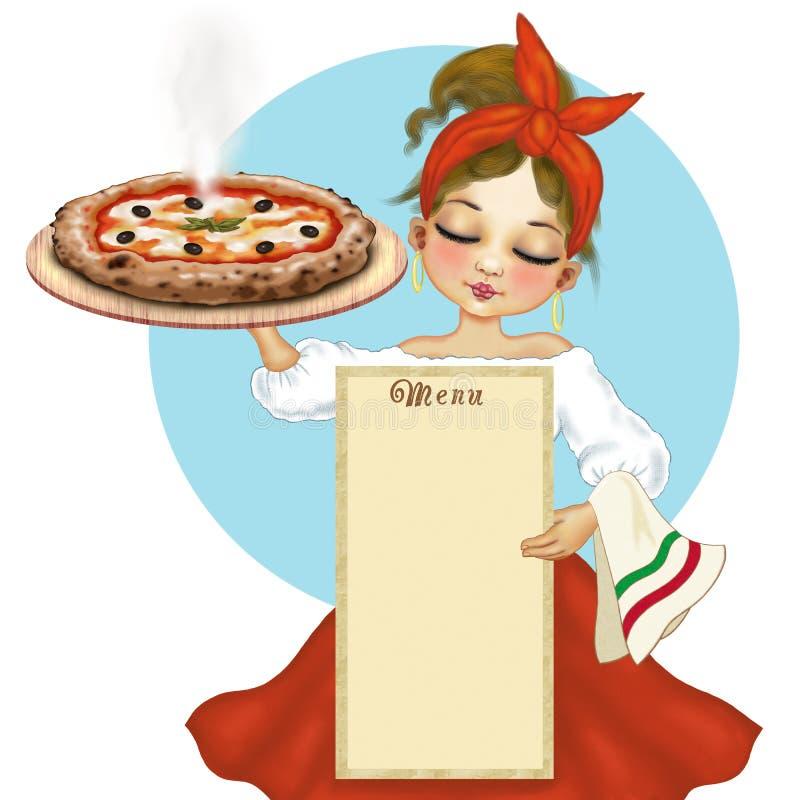 Cocinero napolitano de la pizza con la pizza y el menú stock de ilustración