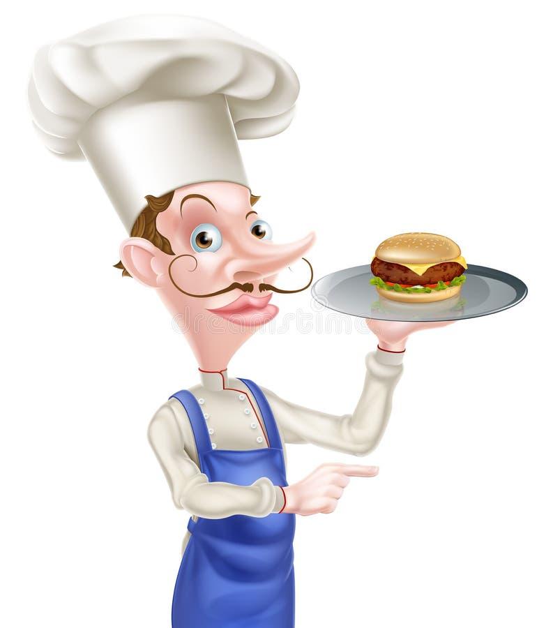 Cocinero Pointing de la hamburguesa libre illustration