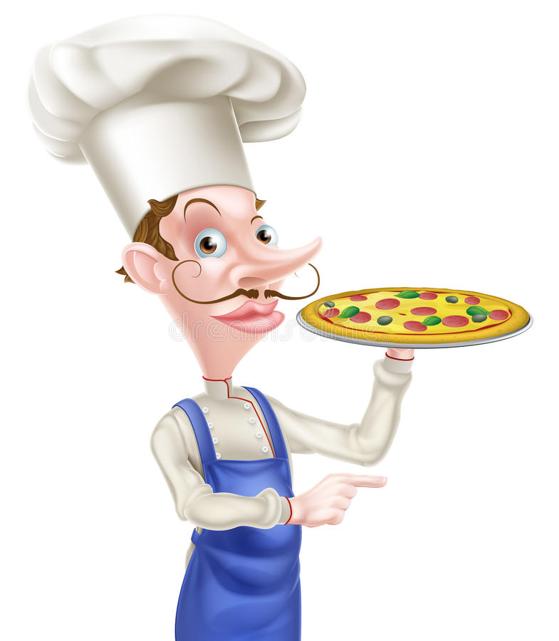 Cocinero Pointing de la pizza libre illustration