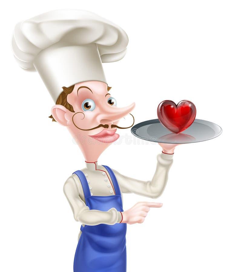 Cocinero Pointing del corazón stock de ilustración