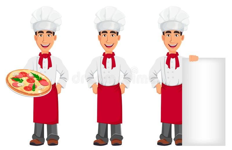 Cocinero profesional joven en sombrero del uniforme y del cocinero ilustración del vector