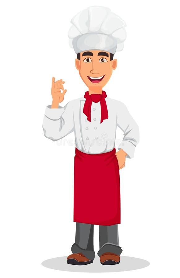 Cocinero profesional joven en sombrero del uniforme y del cocinero Personaje de dibujos animados que muestra la muestra aceptable libre illustration