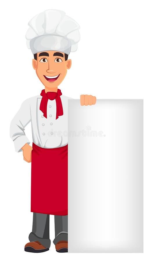 Cocinero profesional joven en sombrero del uniforme y del cocinero Personaje de dibujos animados que se coloca cerca de cartel en ilustración del vector