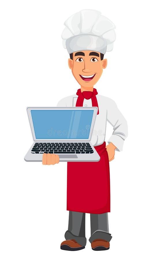 Cocinero profesional joven en sombrero del uniforme y del cocinero Personaje de dibujos animados que sostiene el ordenador portát libre illustration