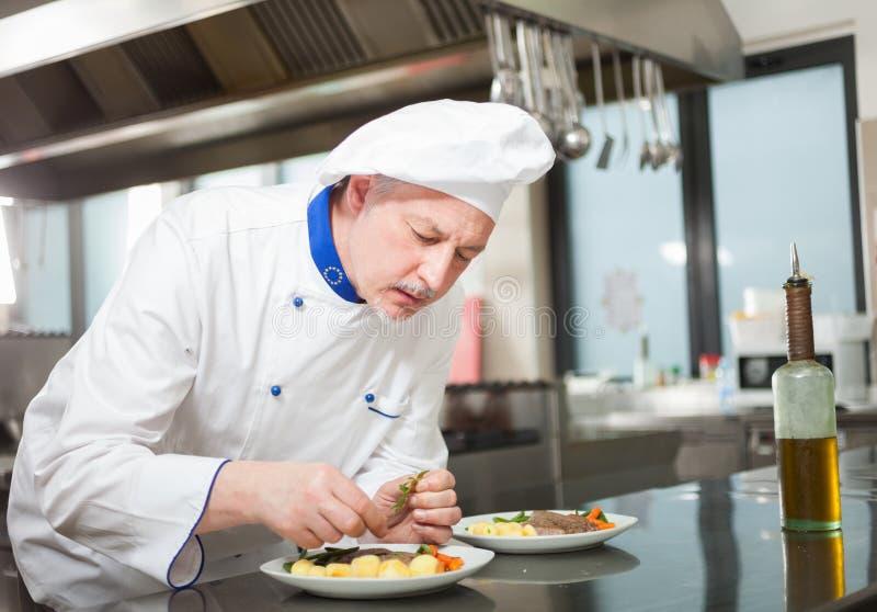 Cocinero que adorna un plato imagen de archivo