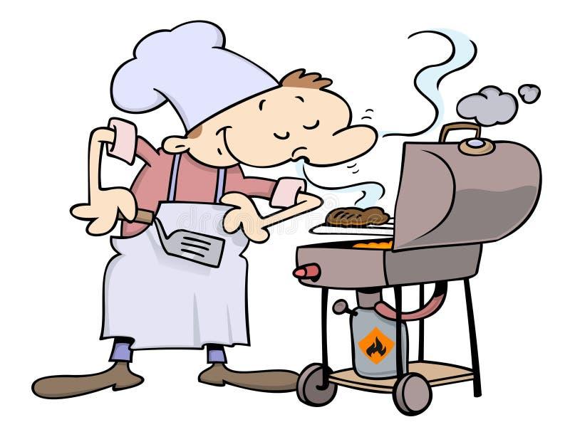 Cocinero que asa a la parilla las hamburguesas stock de ilustración