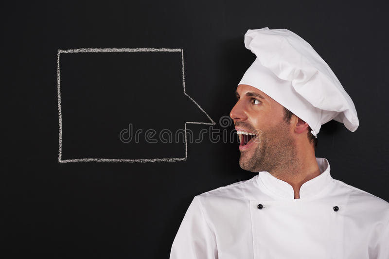 Cocinero que dice algo imágenes de archivo libres de regalías