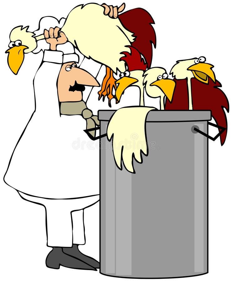 Cocinero que hace la sopa de pollo ilustración del vector