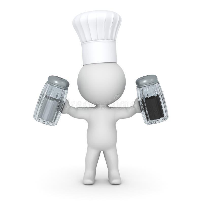 cocinero que lleva Hat Holding Salt del carácter 3D y pimienta stock de ilustración