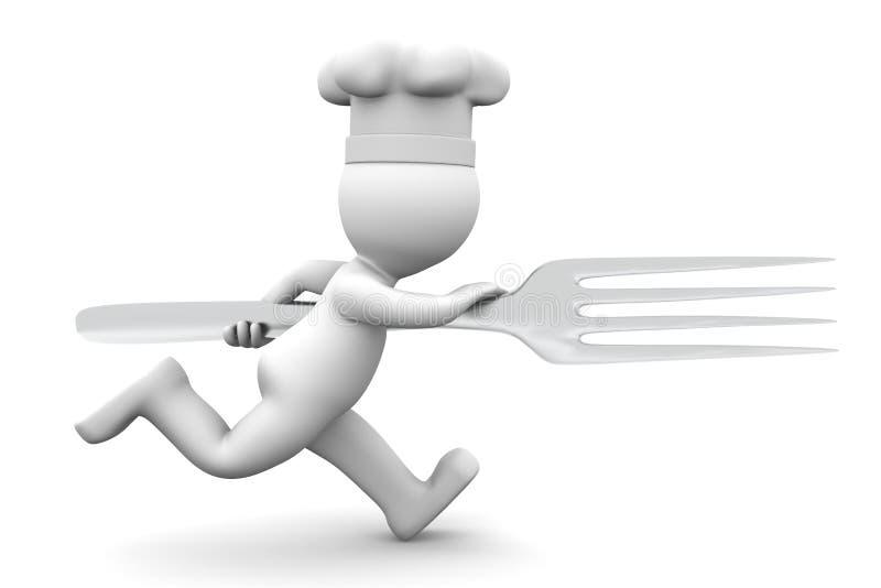 Cocinero que se ejecuta con la fork stock de ilustración
