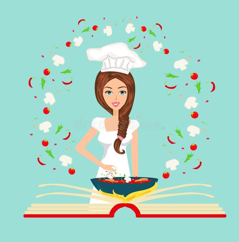 Cocinero que sostiene el libro de cocina de la receta. Tarjeta abstracta, ilustración libre illustration