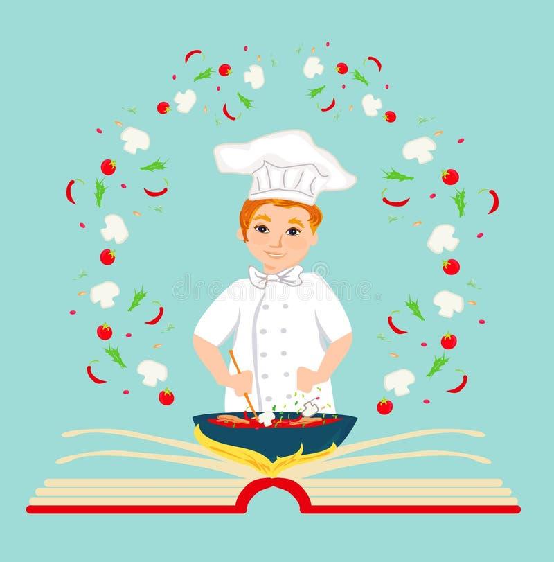 Cocinero que sostiene el libro de cocina de la receta. Tarjeta abstracta, ilustración stock de ilustración
