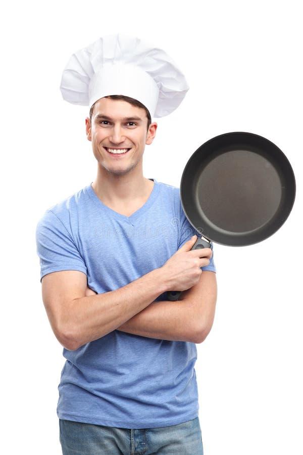 Cocinero Que Sostiene El Sartén Imagenes de archivo