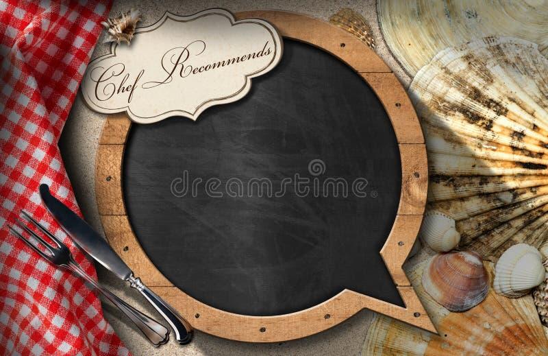Cocinero Recommends - pizarra para el menú de los mariscos ilustración del vector