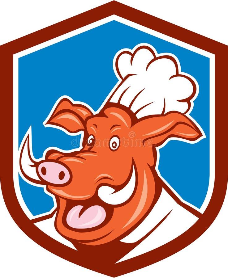 Cocinero salvaje Head Shield Cartoon del cocinero del verraco del cerdo stock de ilustración