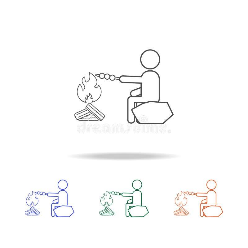Cocineros del hombre en la línea icono de la participación Elementos del viaje en iconos coloreados multi Icono superior del dise ilustración del vector