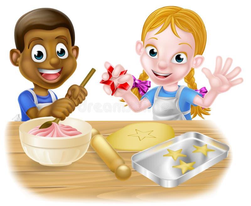 Cocineros del niño de la historieta que cuecen las tortas ilustración del vector